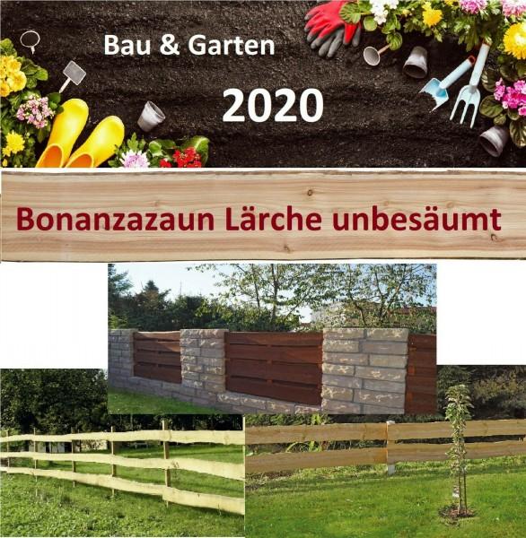 ab9,95€/m Bonanzazaun Lärche Bohle Baumscheibe unbesäumt Massivholz Zaunbretter